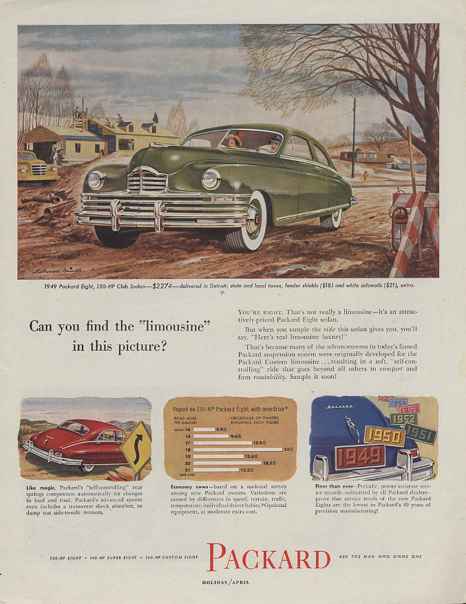 Can you find the limousine in this picture? Packard Eight Club Sedan ad 1949