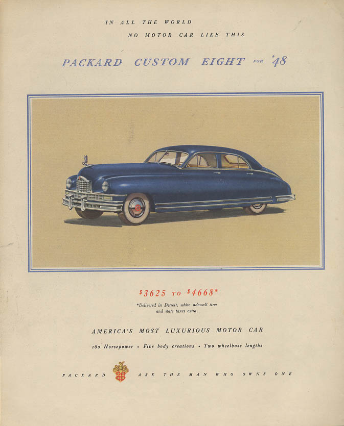Packard Custom Eight $3625 t0 $4668 / Erie Railroad Factory Spot ad 1948