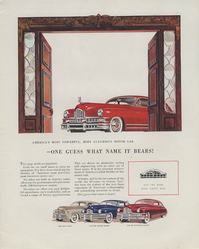 One Guess What Name It Bears! Packard Eight Super & Custom Eight ad 1948