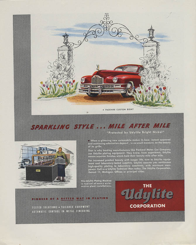Packard Custom Eight Udylite / Mark Tobey Container Corp of America ad 1948