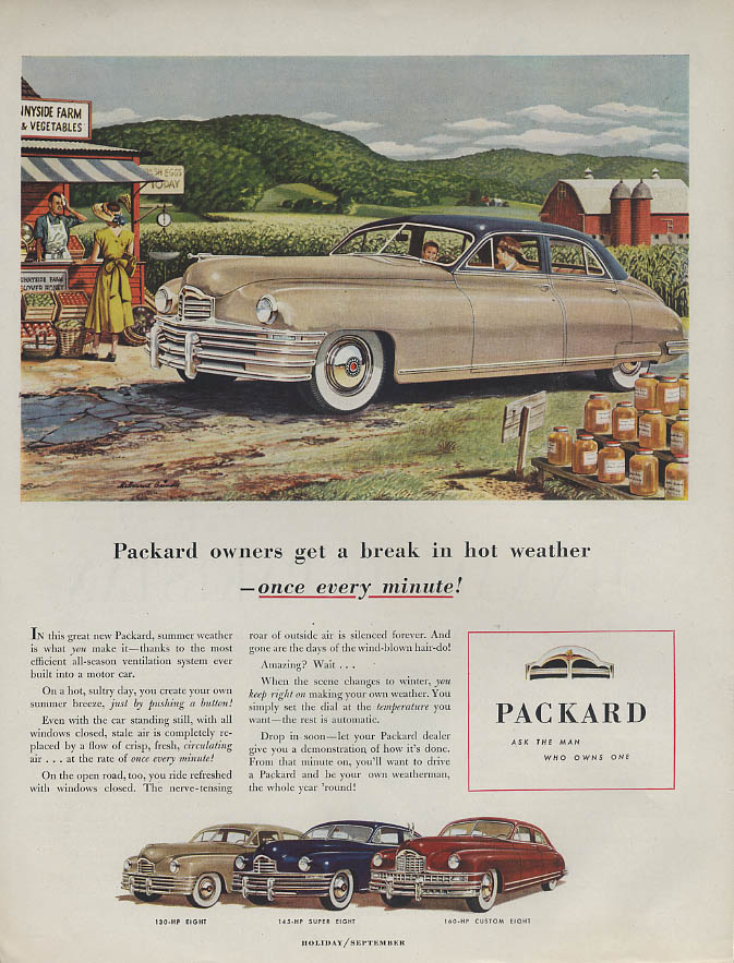 Packard owners get a break in hot weather once every minute ad 1948 H