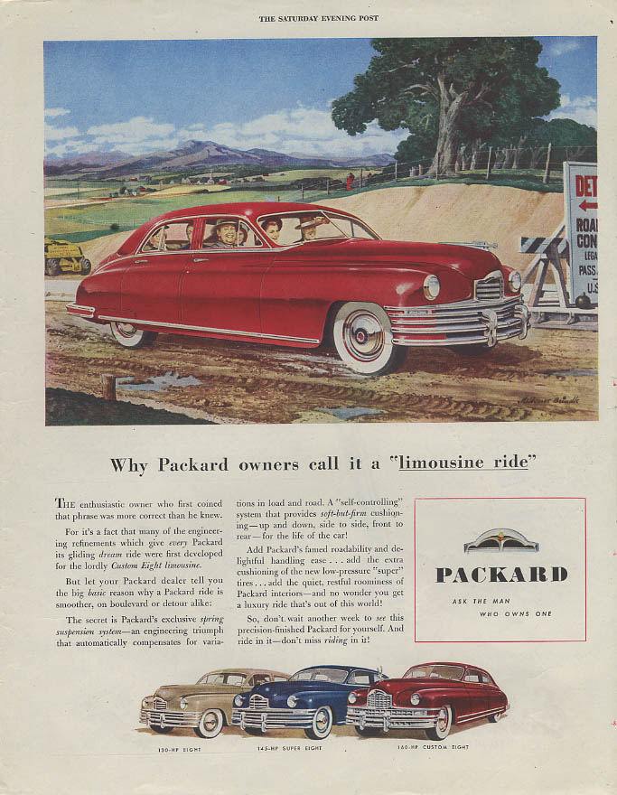 Why Packard owners call it a limousine ride Eight Super & Custom Eight ad 1948