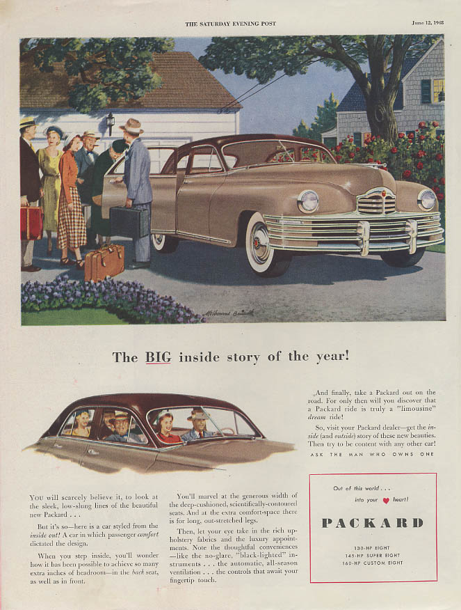 The BIG inside story of the year Packard 4-door Sedan ad 1948