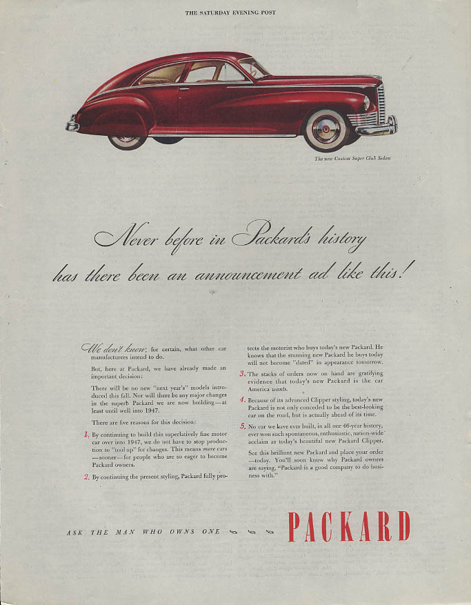 Never before in Packard history Custom Super Club Sedan ad 1946 1947