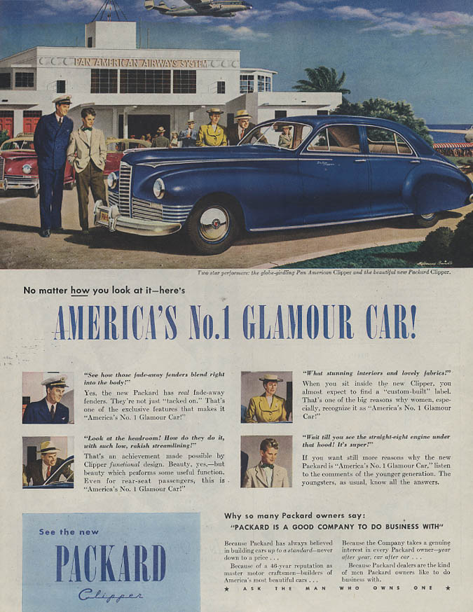 America's No. 1 Glamour Car Packard Clipper ad 1946 Pan American Constellation