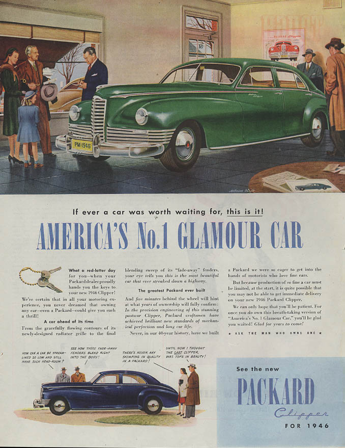 America's No. 1 Glamour Car Packard Clipper ad 1946 dealer showroom