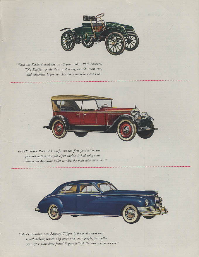 Old Pacific 1902 - 1923 Straight Eight  - 1946 Packard Clipper ad