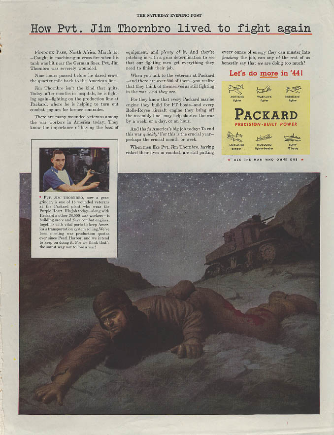Pvt Jim Thornbro lived to fight again Packard / Lockheed P-38 Champion ad 1944