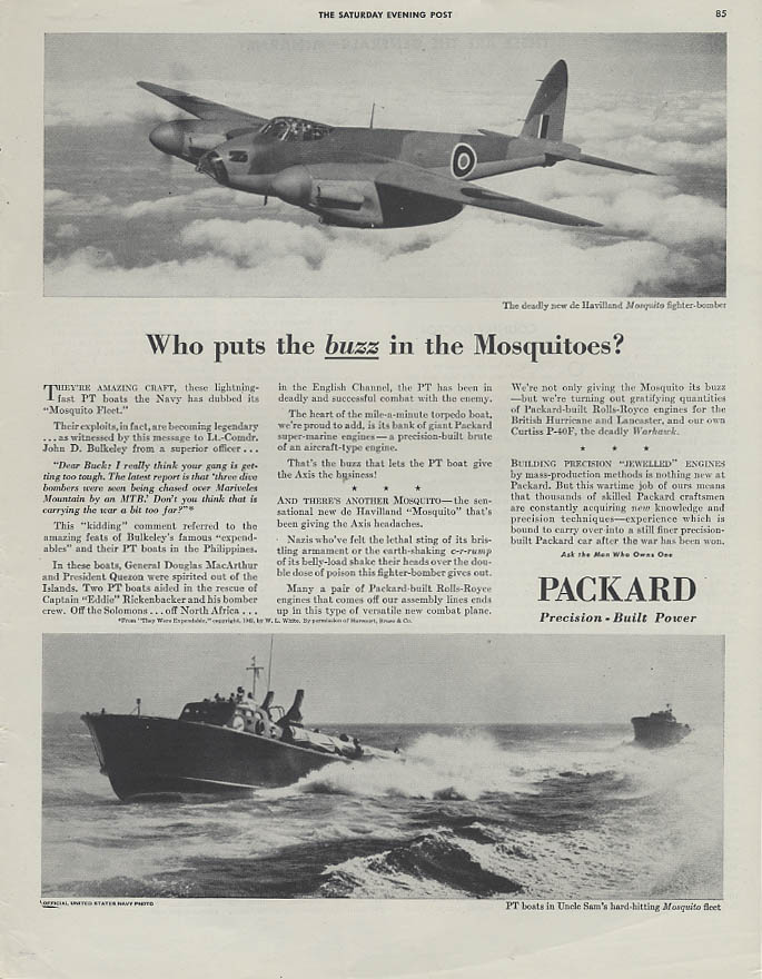 Who puts the buzz in de Havilland Mosquitoes & PT Boats? Packard Power ad 1943