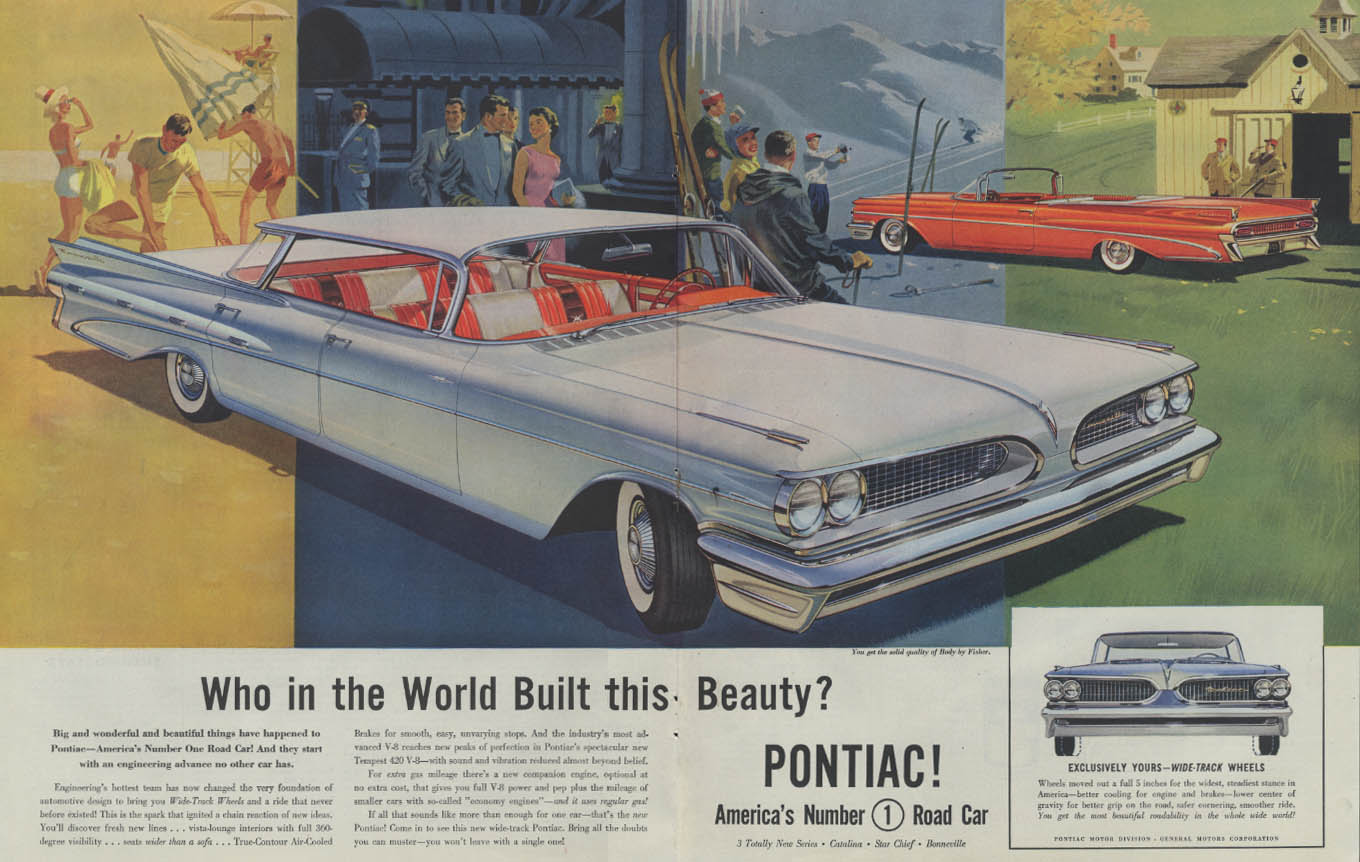 Who in the world built this beauty? Pontiac Bonneville ad 1959 P