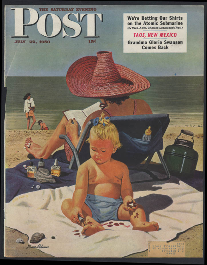 Saturday Evening Post COVER ONLY 1950 Stevan Dohanos baby paints toes at beach