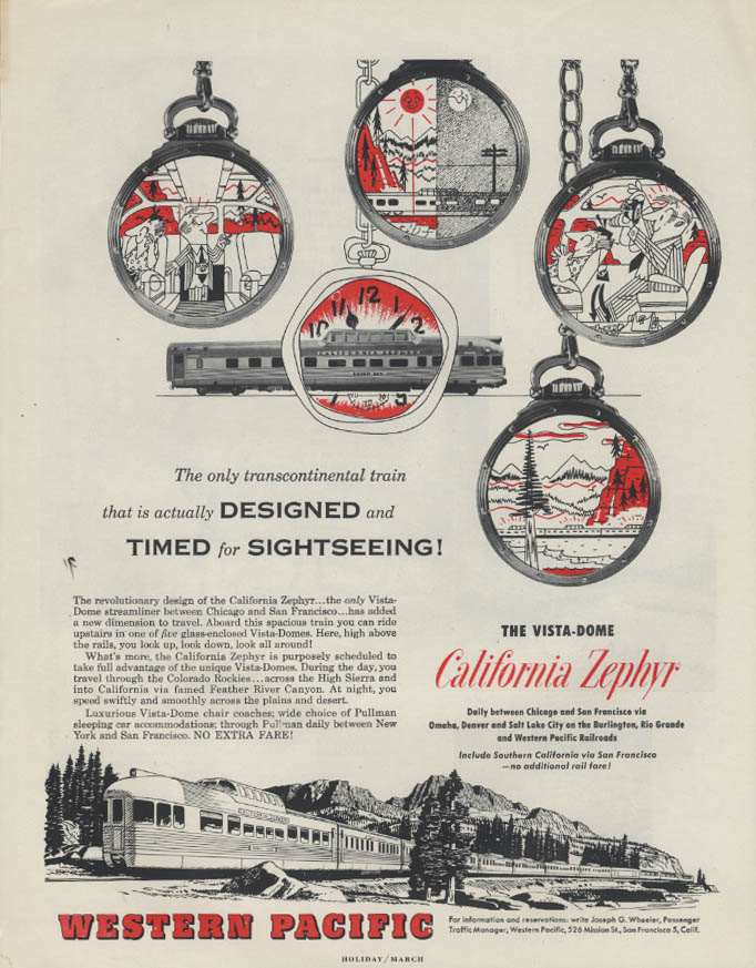 Image for Designed & Timed for Sightseeing Western Pacific California Zephyr ad 1953
