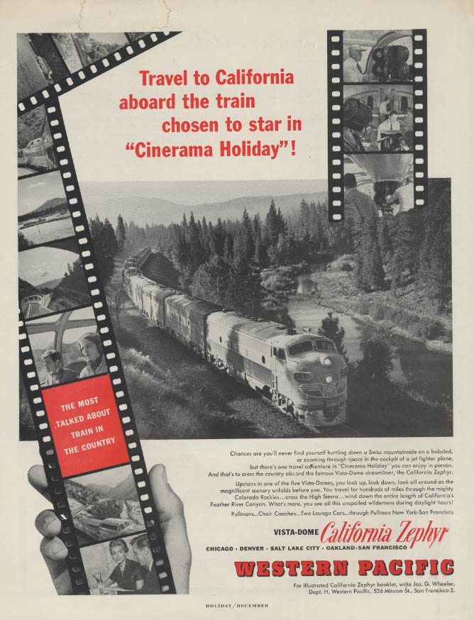 Cinerama Holiday star train Western Pacific California Zephyr ad 1955