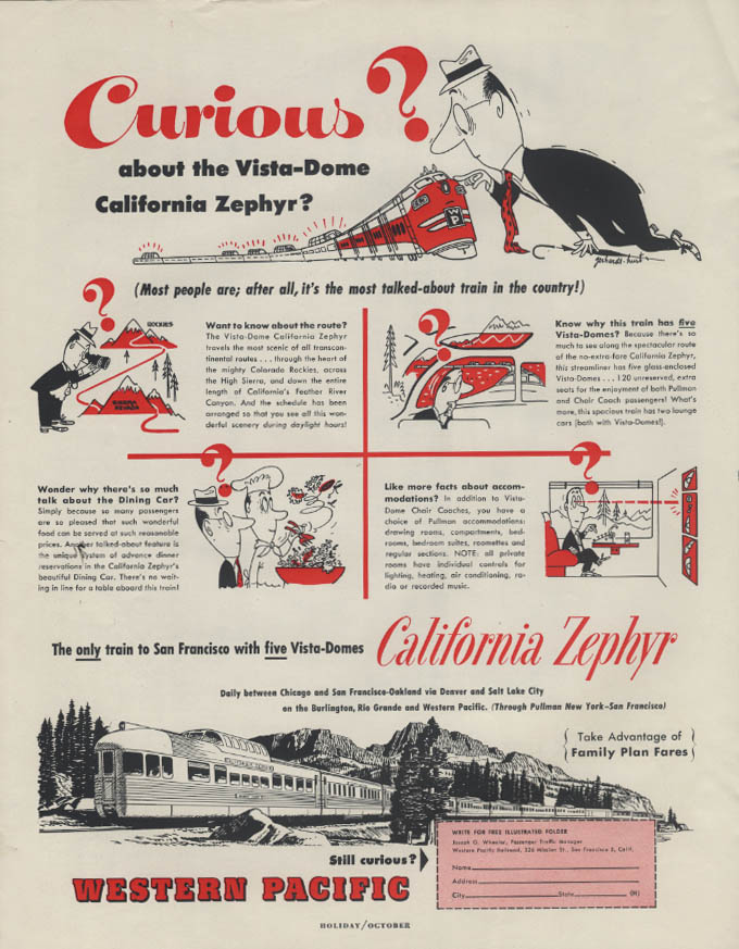 Image for Curious? Western Pacific California Zephyr Vista-Dome ad 1954
