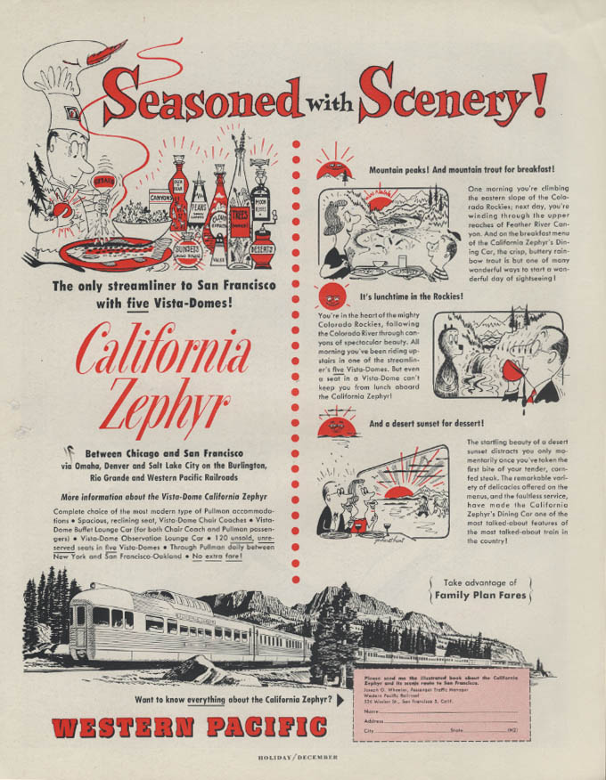 Image for Seasoned with Scenery! Western Pacific California Zephyr Vista-Dome ad 1954