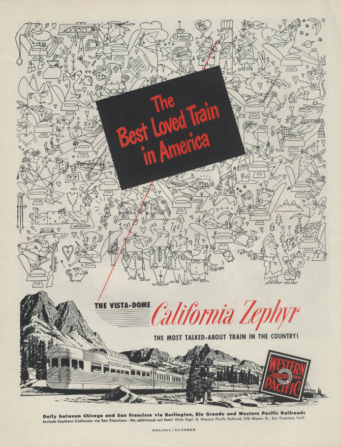 Image for Best Loved Train in America Western Pacific California Zephyr Vista-Dome ad 1951