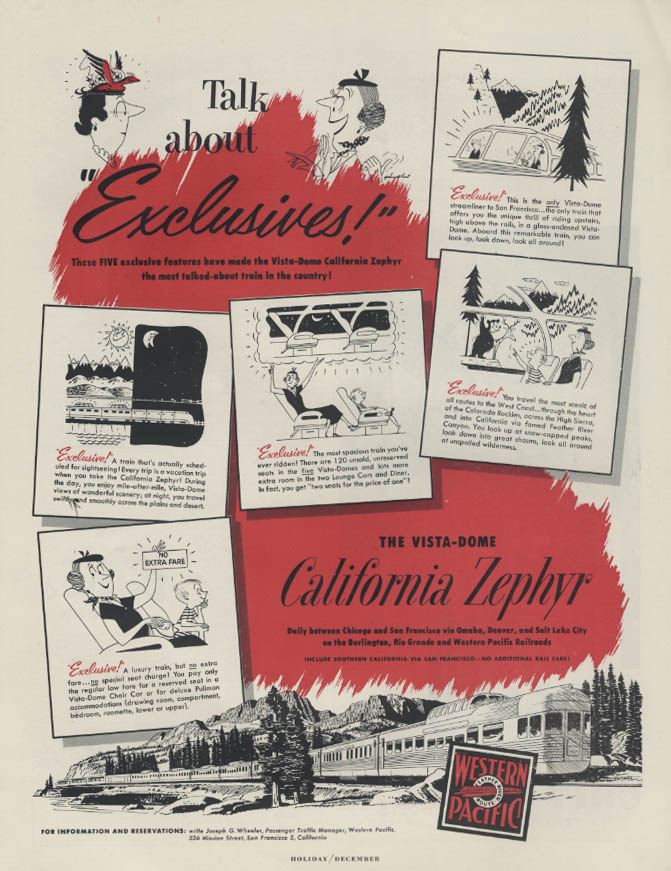 Image for Talk About Exclusives! Western Pacific California Zephyr Vista-Dome ad 1952
