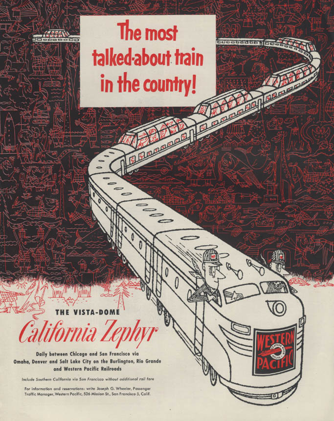 Image for Most talked-about train Western Pacific California Zephyr Vista-Dome ad 1953 #2