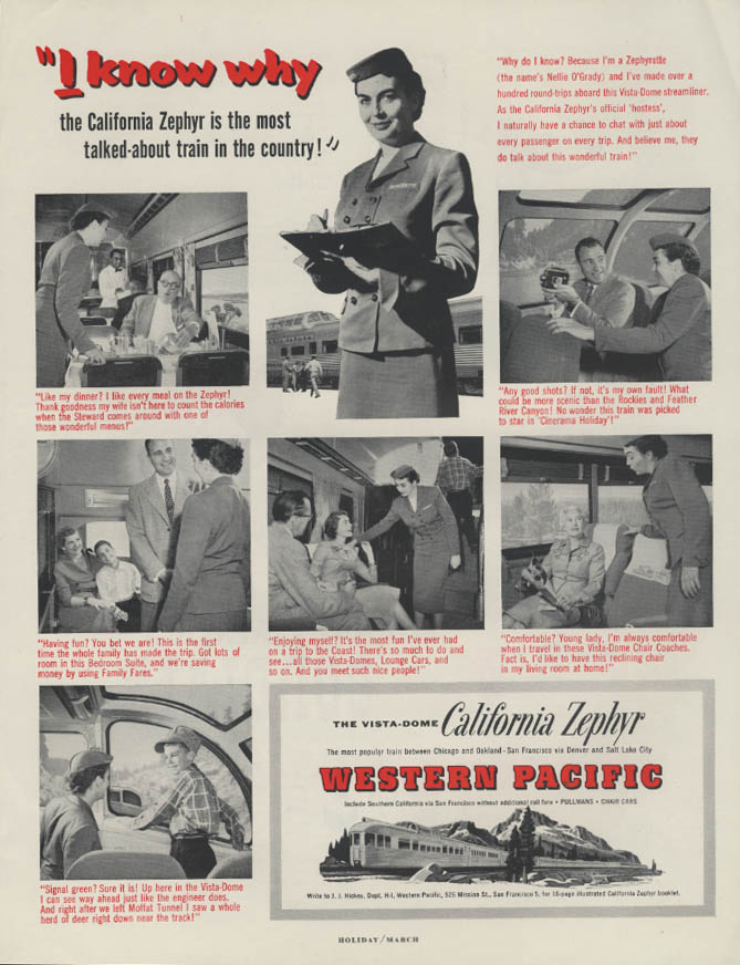 I know why Western Pacific California Zephyr Vista-Dome ad 1956