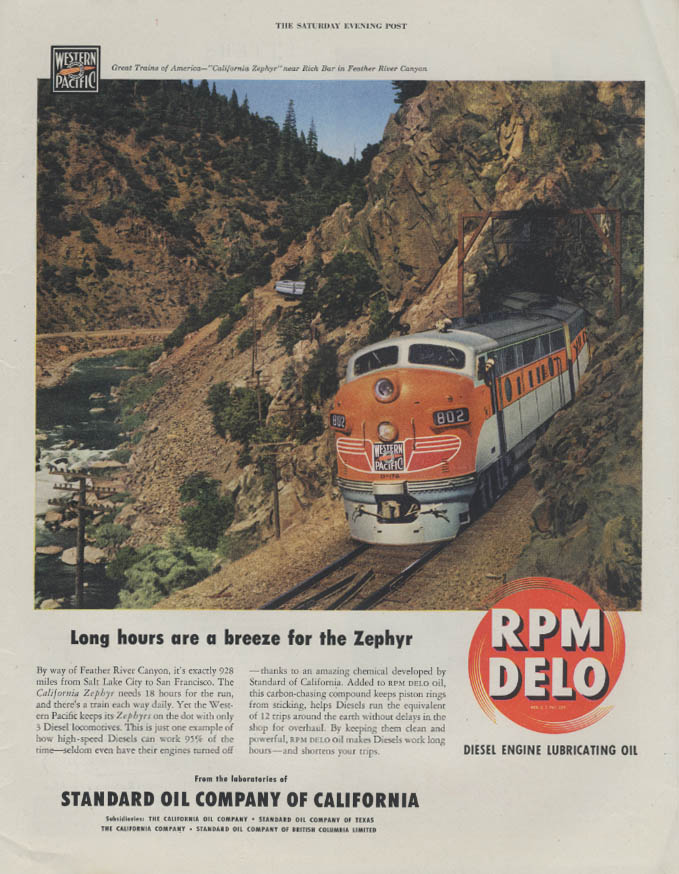 Long hours a breeze Western Pacific California Zephyr RPM Delo ad 1948