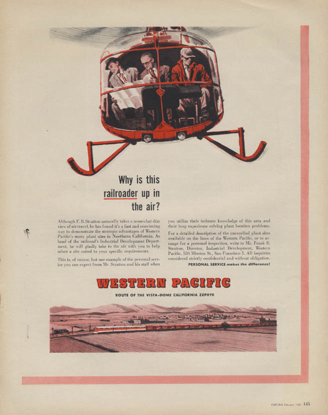 Image for Why a railroader up in the air in a helicopter? Western Pacific RR ad 1956