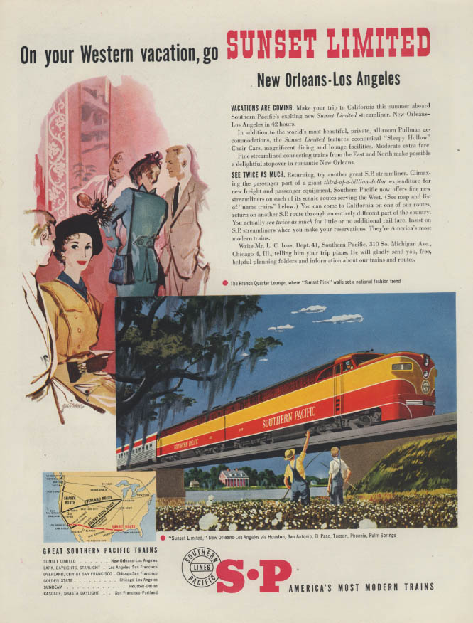 Image for On your Western vacation Southern Pacific Sunset Limited New Orleans-LA ad 1951
