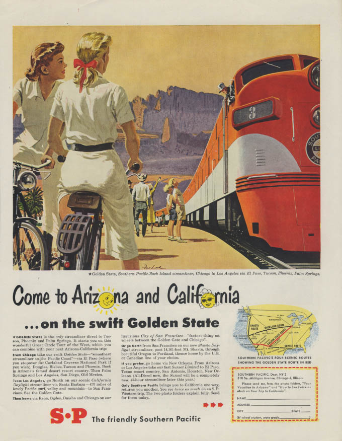 Image for Come to Arizona & California on Southern Pacific Golden State ad 1950