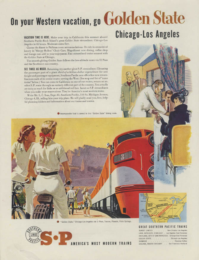 Image for On your Western vacation Southern Pacific Golden State Chicago-LA ad 1951