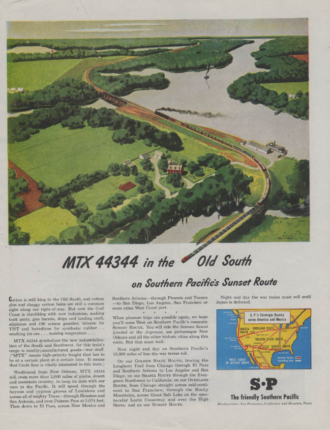 Image for MTX 44344 in the Old South Southern Pacific Sunset Route ad 1945