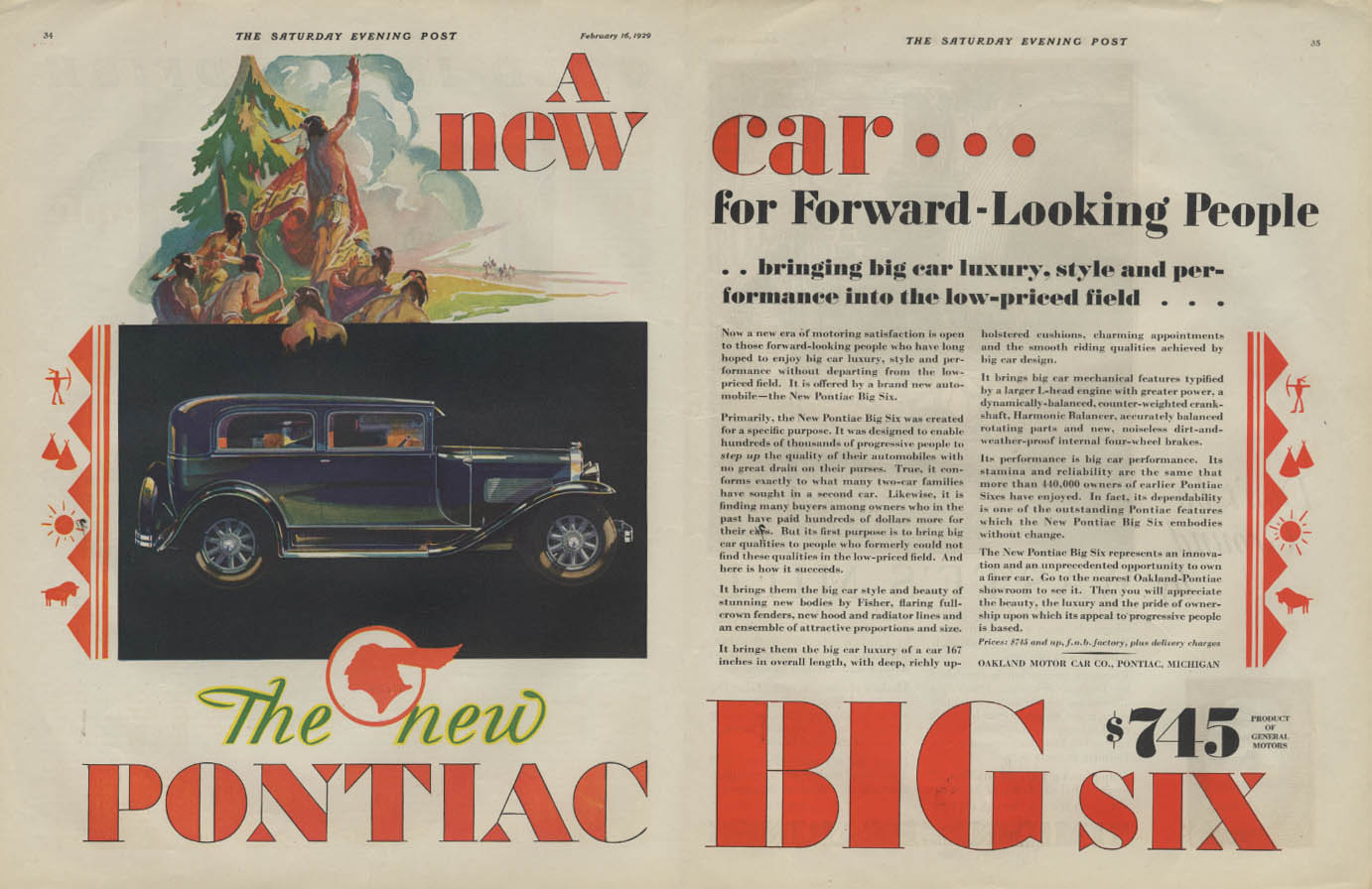 A new car for Forward-Looking People Pontiac Big Six 2-door Sedan ad 1929