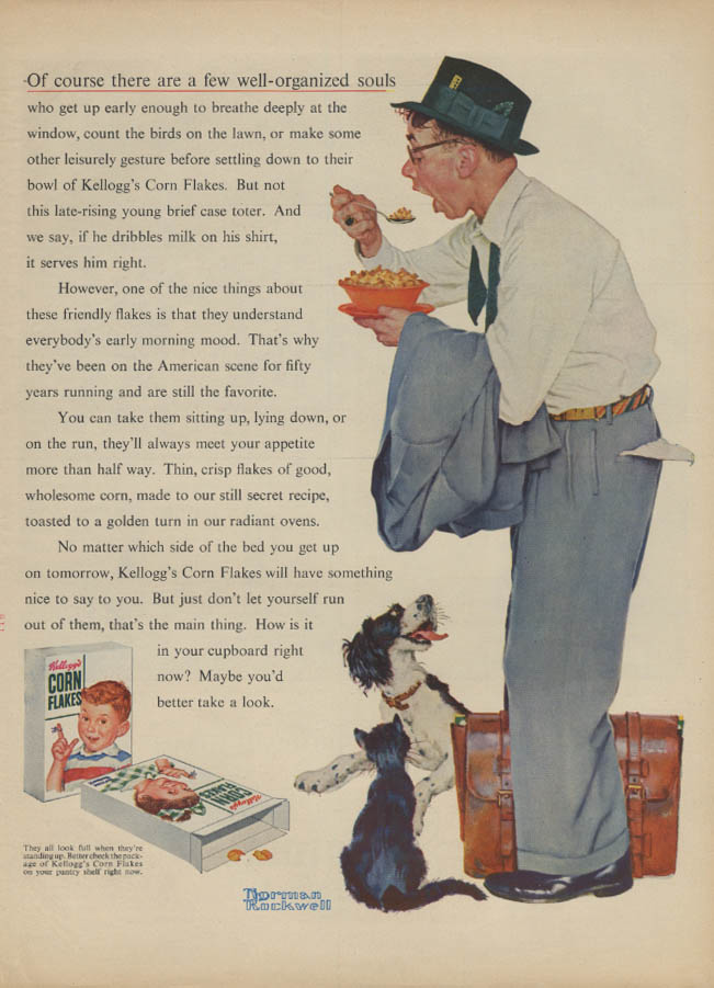 A few well-organized souls Kellogg's Corn Flakes ad 1955 Norman Rockwell