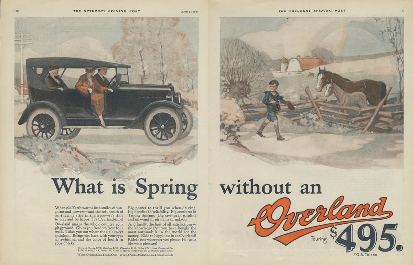 Image for What is Spring without an Overland Touring Car ad 1924 Willys