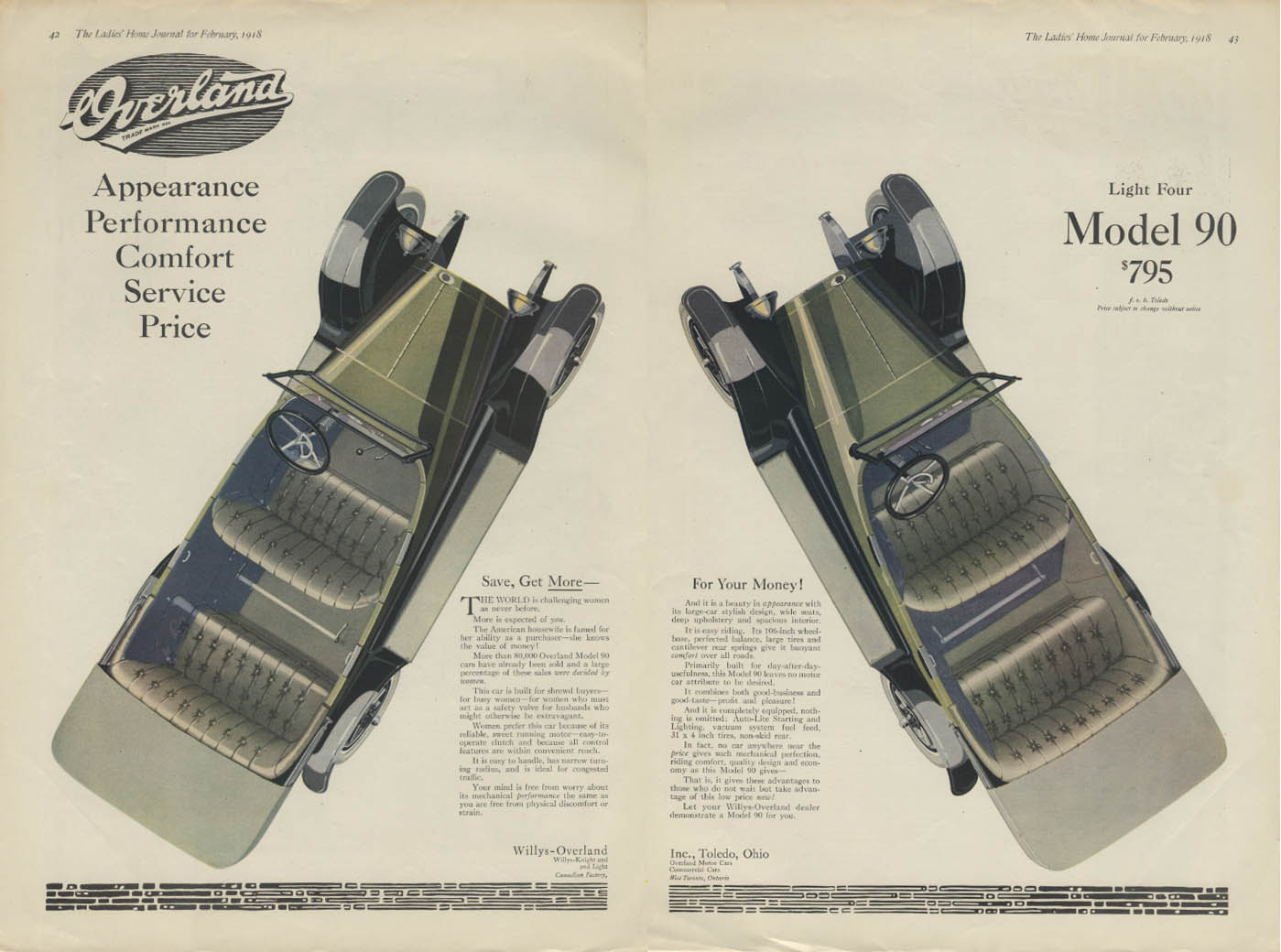 Image for Save, Get More for Your Money! Willys Overland Light Four Model 90 ad 1918
