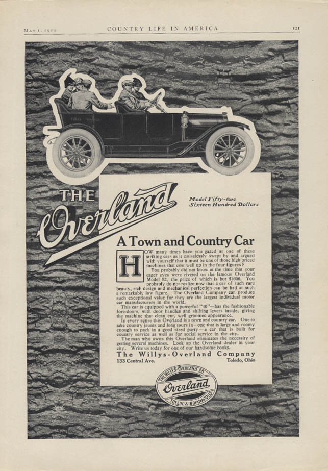A Town & Country Car Willys Overland Model 52 Touring Car ad 1911