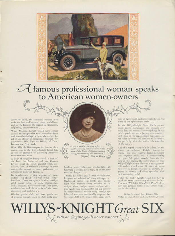 Image for Elsie de Wolfe to American women car owners Willys-Knight Great Six ad 1929