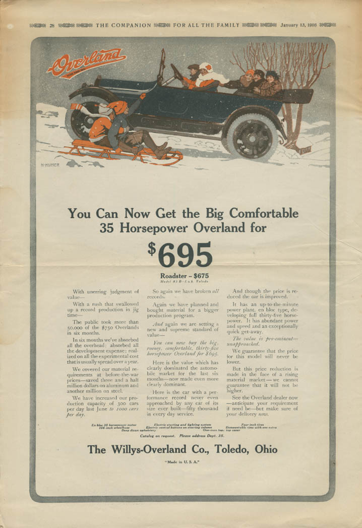 Big Comfortable Willys Overland Touring Model 83B for $695 ad 1916