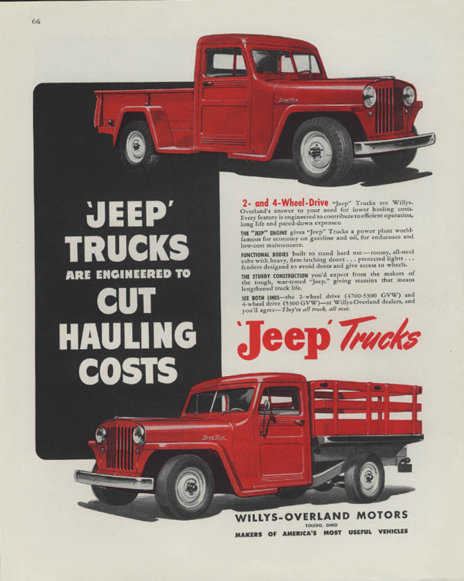 Image for Jeep Trucks engineered to Cut Hauling Costs ad 1948