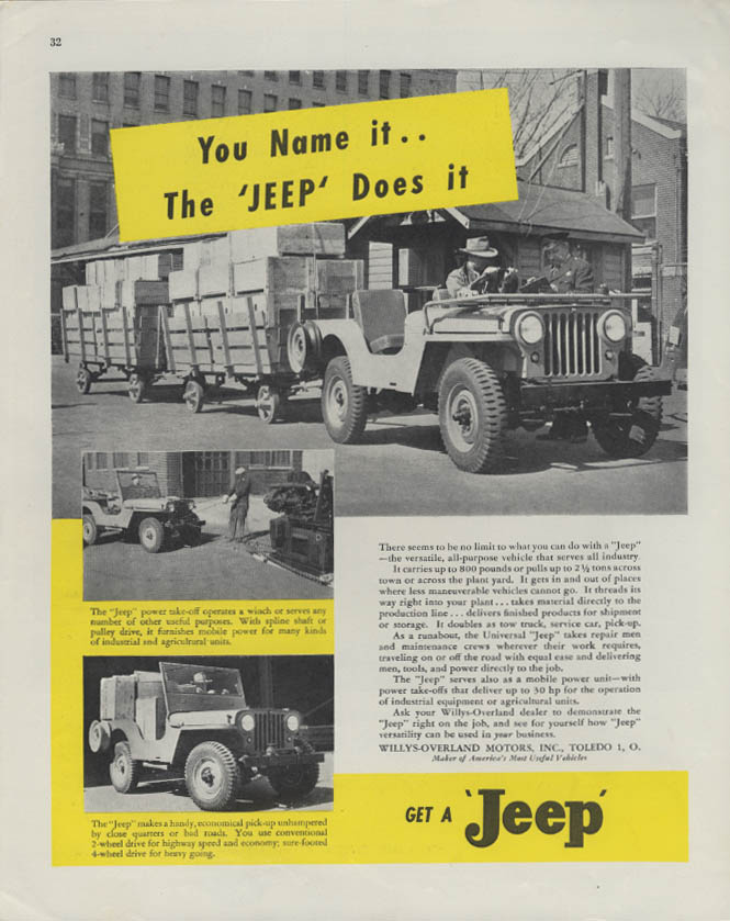 Image for You Name It - The Universal Jeep Does It ad 1946