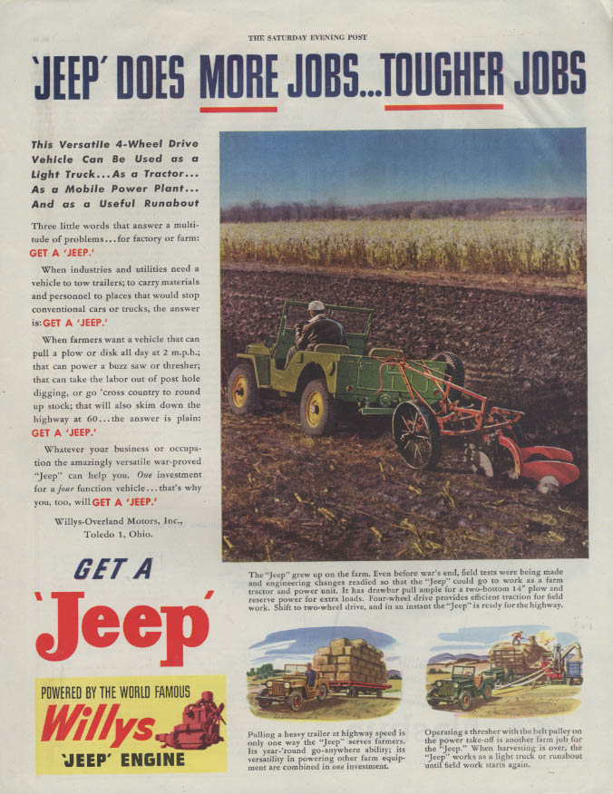 Image for Jeep Does More Jobs  - Tougher Jobs Get a Jeep ad 1946