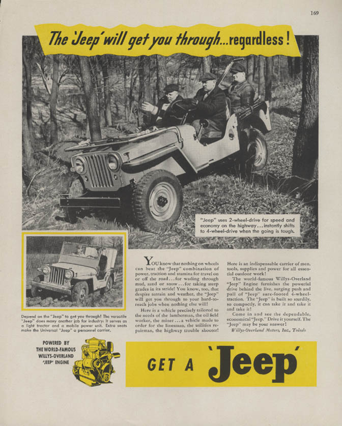 Image for The Jeep Will Get You Through - Regardless! Ad 1946