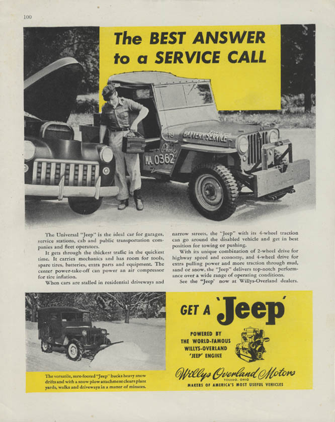 Image for The Best Answer to a Service Call Get a Universal Jeep ad 1946