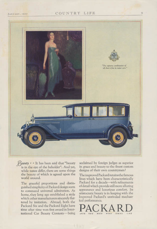 Beauty is in the eye of the beholder Packard Sedan ad 1927 Country Life