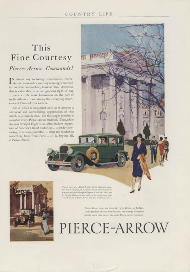 This Fine Courtesy Pierce-Arrow Commands! Ad 1929 1930 Country Life