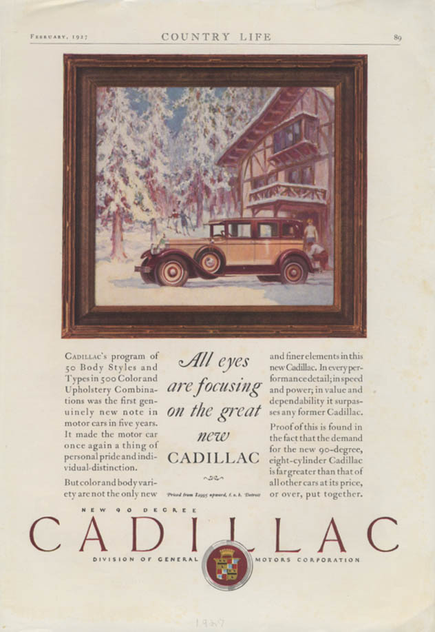 All eyes are focusing on the great new Cadillac Sedan ad 1927