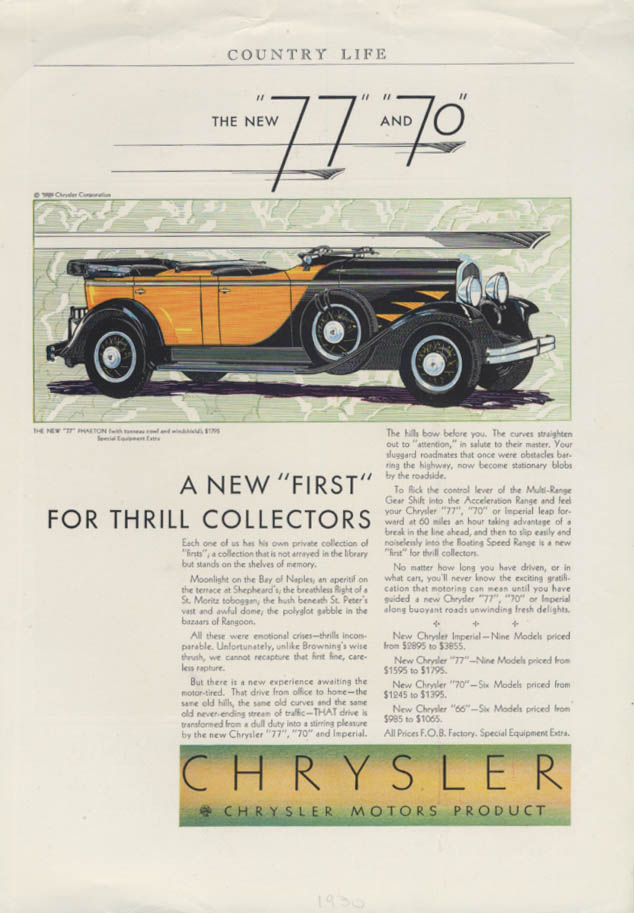 A new first for thrill collectors Chrysler 77 Phaeton ad 1930