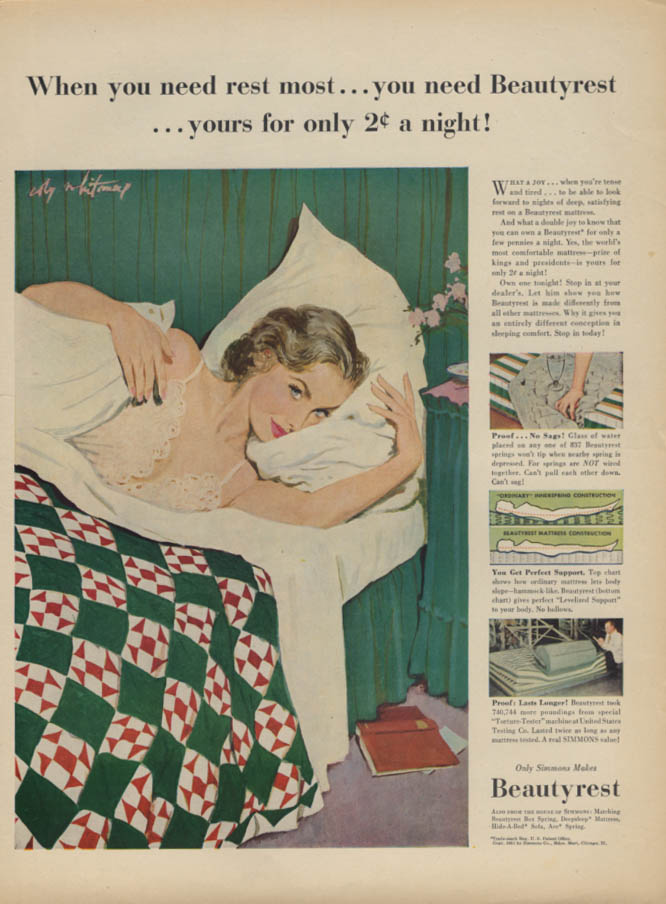 Beautyrest Mattress for 2c a night ad 1951 Coby Whitmore glamour art