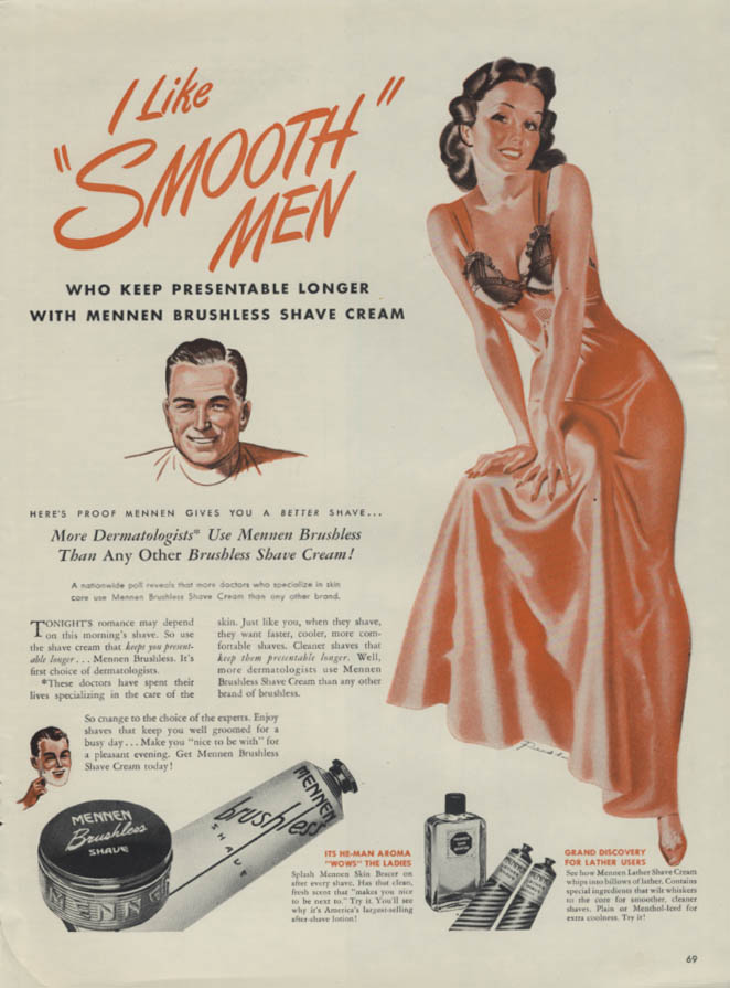 Image for I Like Smooth Men Mennen Brushless Shave Cream ad 1946 Russ lingerie pin-up