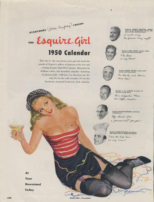Esquire Girl Calendar for 1950 MAGAZINE AD not the full calendar