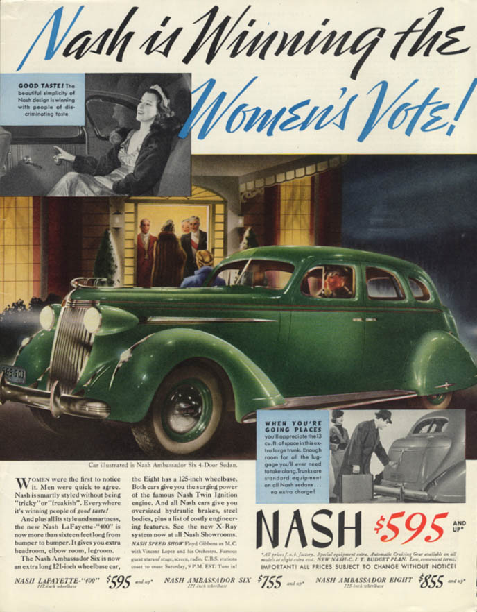 Image for Nash is winning the Women's Vote! 1937 Ambassador Six ad