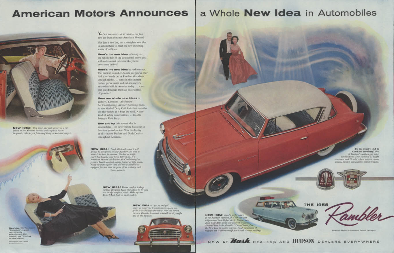 American Motors Announces a Whole New Idea - Nash & Hudson Rambler ad 1955